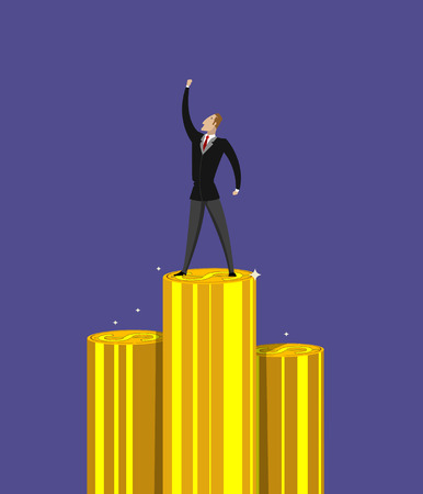 conquering adversity: Successful businessman standing on pile of money
