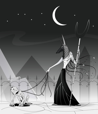 Vector illustration of Anubis and mummy. Egypt God of Underworld. Fiction concept