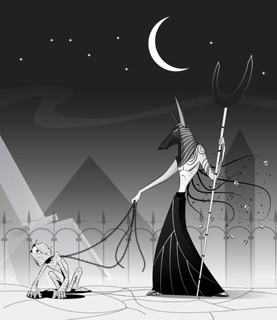 Vector illustration of Anubis and mummy. Egypt God of Underworld. Fiction concept