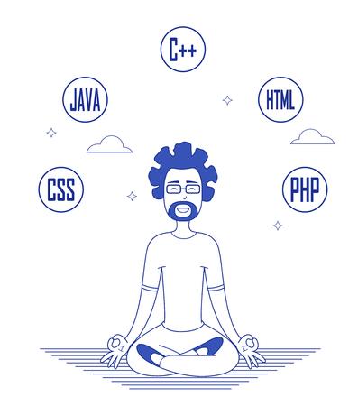 Programmer in glasses sitting in meditation