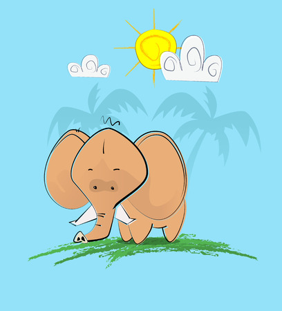 Cute hand draw style elephan Illustration