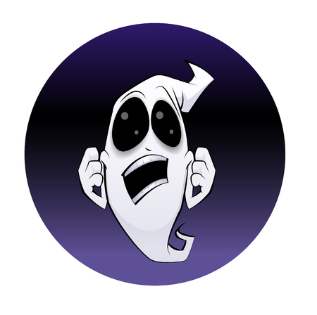 Halloween style vector illustration,  a cartoon sketch of a ghost with happy expression gestures inside a glow black circle shape.