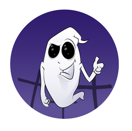 Ghost Halloween Concept in cartoon illustration with approve signs of the hand in a purple circle.