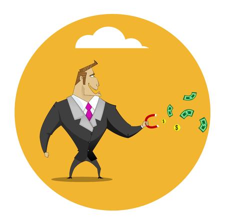 Businessman catches money using magnet