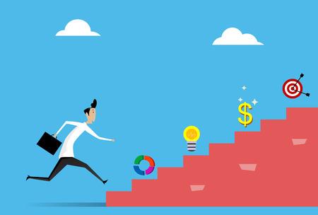 businessman running grow up graph vector Illustration