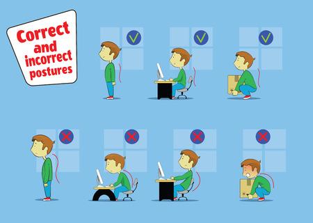 Illustration of cartoon boy sitting, working and lifting heavy things Иллюстрация