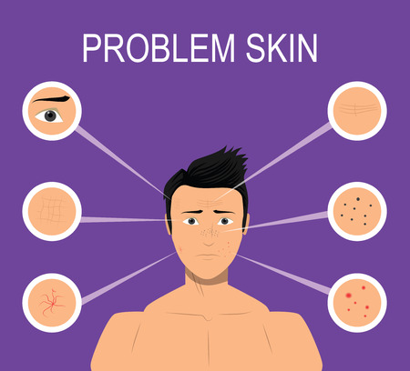 Male with problem skin