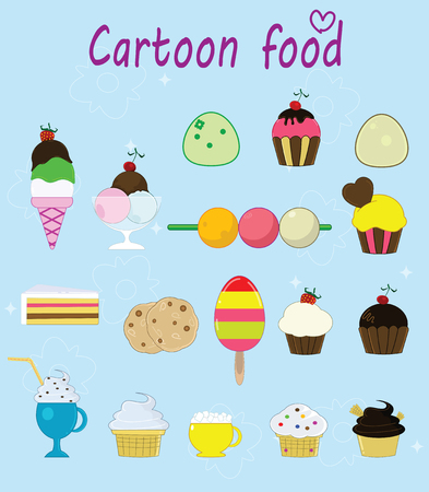 Set of cartoon cakes, pies, ice creams and other desserts.
