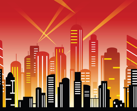 City of the future in red tones. Art deco motifs. Urban cityscape template with modern buildings. Vector banner for web design. Illustration