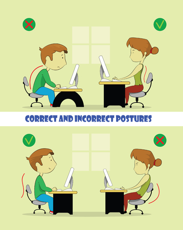 child sitting: Sample of the guy and girl sitting in wrong and right ways. Cartoon vector illustration