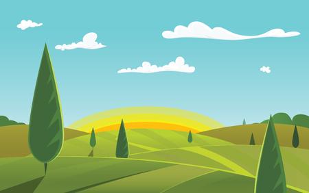 緑の風景  イラスト・ベクター素材