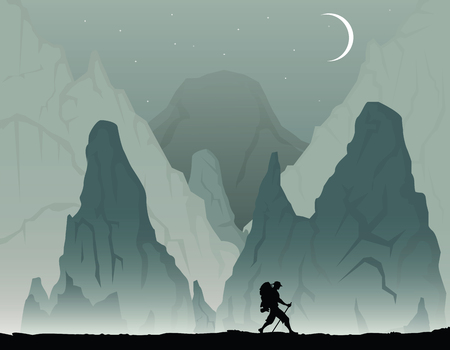 Cartoon illustration with man with backpack hiking  イラスト・ベクター素材