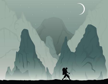 Cartoon illustration with man with backpack hiking Illusztráció