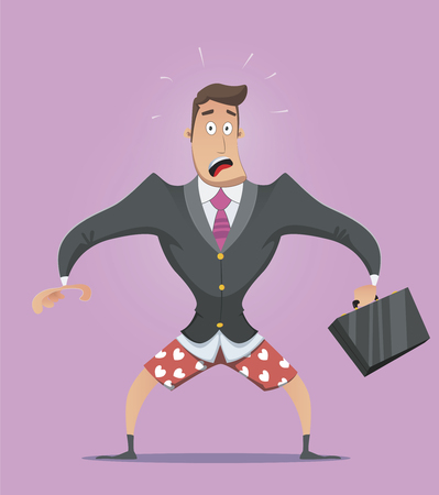 alone in the dark: Illustration of a businessman without pants in panic. Illustration