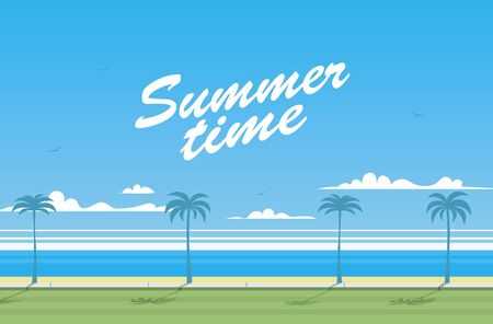 Seafront background with summertime text inscription.