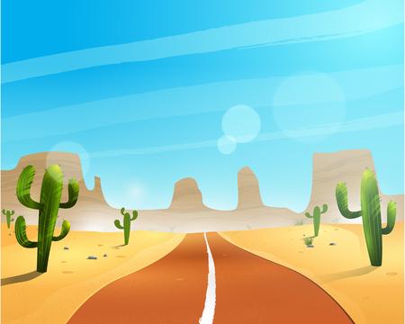 사막을 통과하는 길.