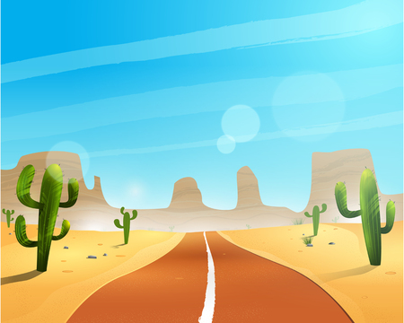 Road through the desert. Illustration