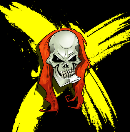rockabilly: Evil skull with long hair and scratches on background. Horror concept illustration. Vector cartoon