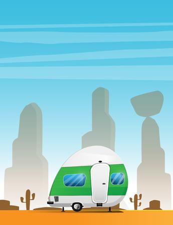 Camping trailer. Traveler truck camper. Illustration