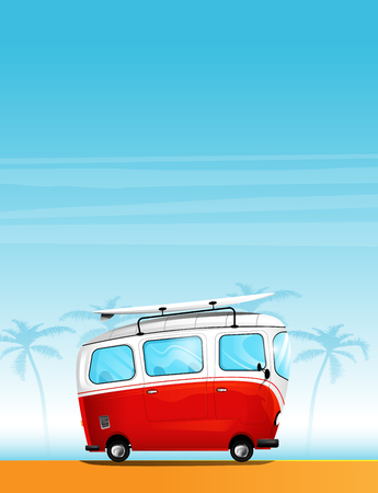 Hippie cartoon minivan with a surfboard on the roof  イラスト・ベクター素材