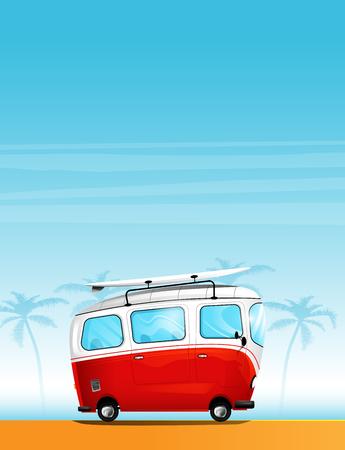Hippie cartoon minivan with a surfboard on the roof Çizim