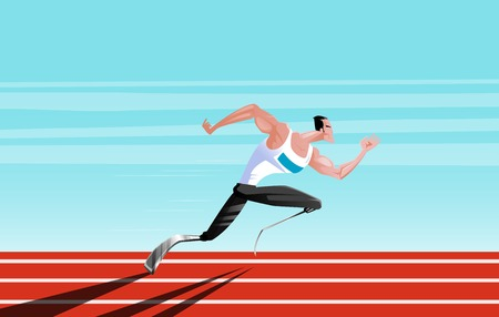 Disabled athlete runner on carbon prosthetics. A conceptual image dedicated to the power of the spirit and the Paralympic Games. Cartoon style. Illustration
