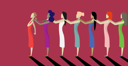 Stop violence against women. Conceptual image of brave women who are fighting for their rights. Women in the picture are holding each others shoulders in support. flat vector