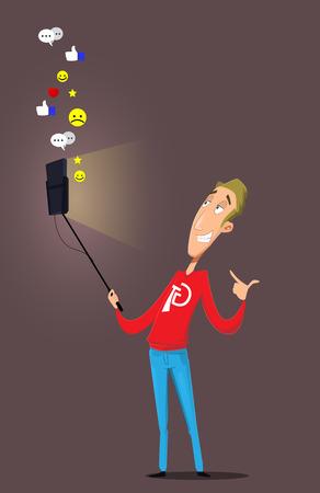 Cartoon blogger communicates