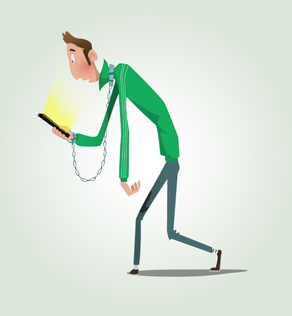 Hands of cartoon guy tied to a mobile phone. Smart phone networking and communication technology addiction concept Illustration