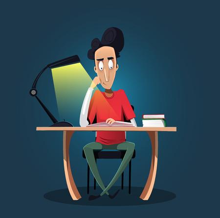 늦게 밤을 공부하는 재미 자신감 어린 소년. 그는 책상에 앉아 책을 읽고있다. 교육 개념입니다. 평면 만화 벡터 일러스트 레이션