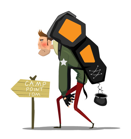 Tired cartoon man with backpack going to camp point. Travel lifestyle. Hiking hard concept adventure. Vector Illustration