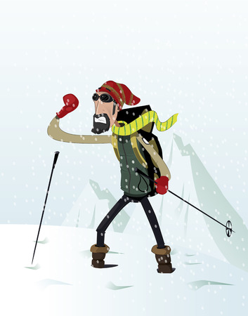 Mountaineer was caught in the snow. Mountaineering concept. Vector