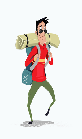 Young man traveler with backpack. Summer vacations and Lifestyle hiking concept. Stock Vector - 92805439