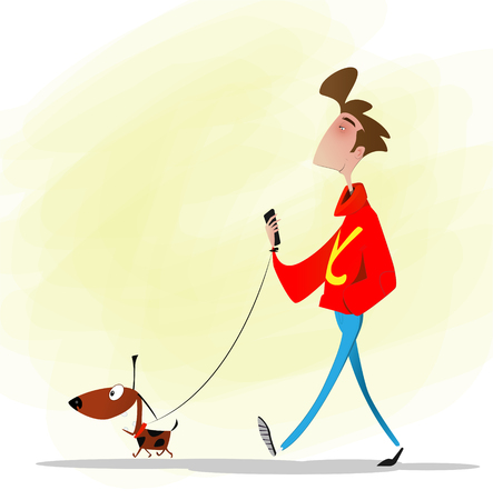 Full length cartoon boy walking a dog.