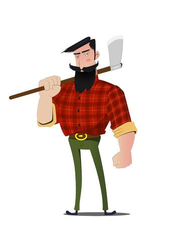 Cartoon bearded lumberjack in a plaid shirt Stock Vector - 93431990
