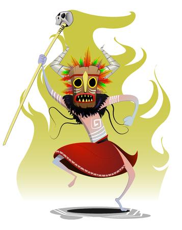 Cartoon dansing shaman. Magic, sorcery, concept vector illustration.