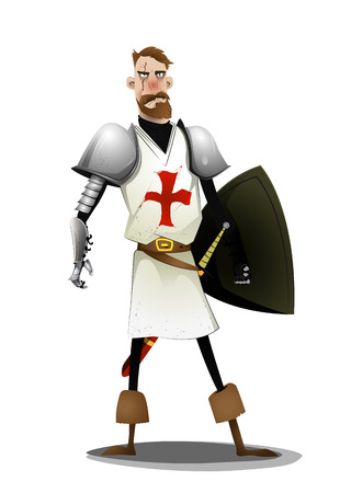 Templar knight standing on white background