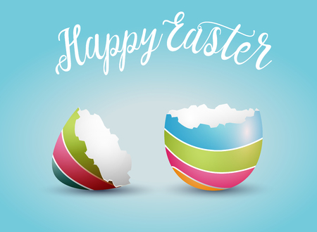 Realistic Easter egg shell, isolated on blue background. Happy Easter concept vector illustration.