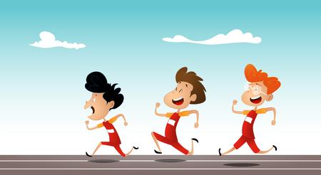 Group of young running cartoon children.