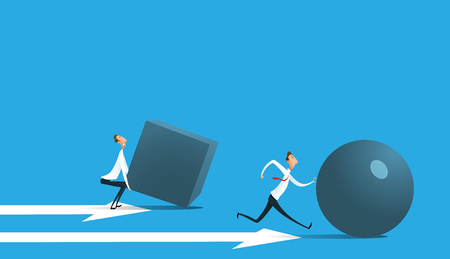 Businessman pushing sphere Stock Illustratie