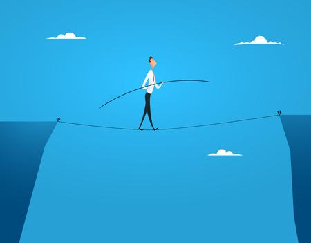 Businessman balances walking Vector illustration.