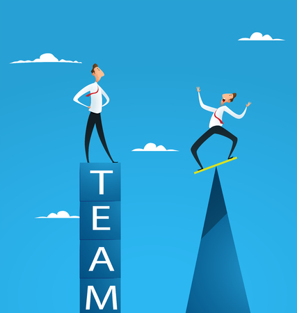 Business risk management, businessmen balancing on different shapes. Vector illustration.