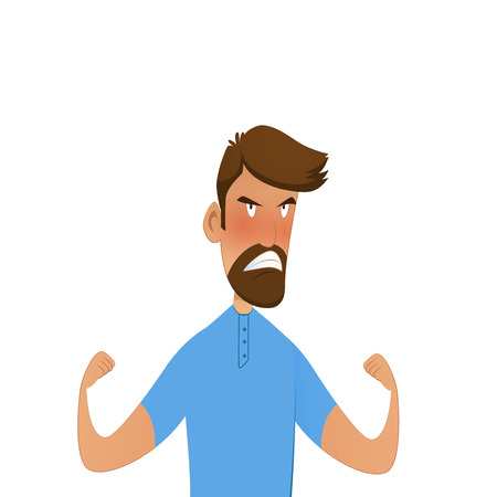 portrait of young angry man Vector illustration. Illustration