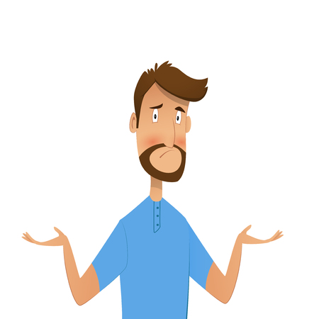 Frustrated guy shows gestures oops, sorry or he doesnt not know. Vector icartoon illustration.
