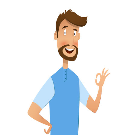 Excited man happy smile and shows ok Vector illustration. Illustration