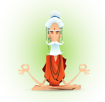 Holy yogi in deep concentration. Vector illustration.