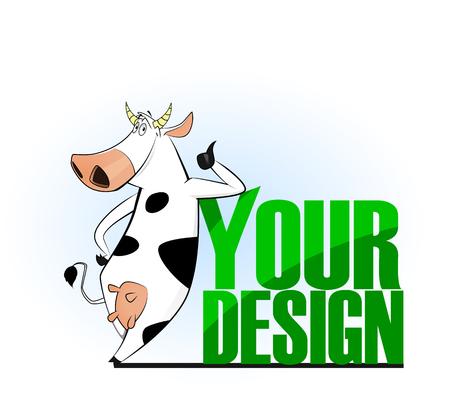 Cartoon cow emblem for logo your design. Vector illustration. Easy to edit. Illustration