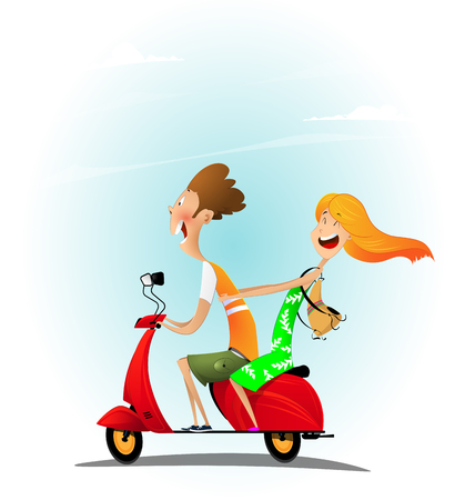 Young cheerful cartoon couple riding a scooter with fun. Vacation travel conceptl. Vector Illustration