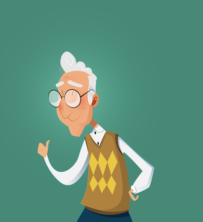 Smiling senior old man showing thumb up gesture. Vector cartoon illustration.