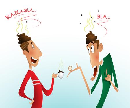 Two men are gossiping. Conceptual illustration of propaganda, manipulation in the media, rumors spread